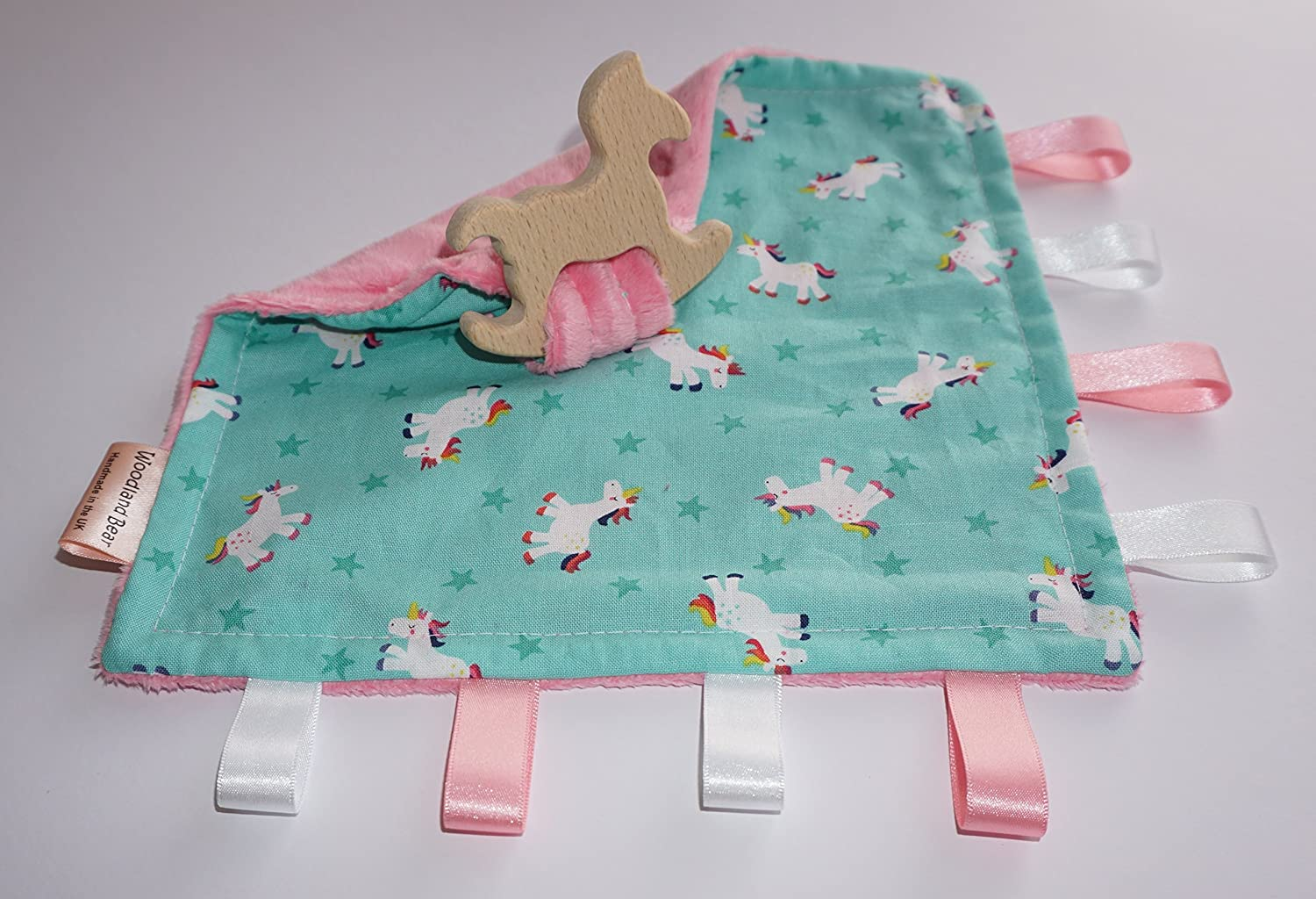 Teething baby blanket comforter - Unicorns - organic wooden rocking horse - CE certified from birth