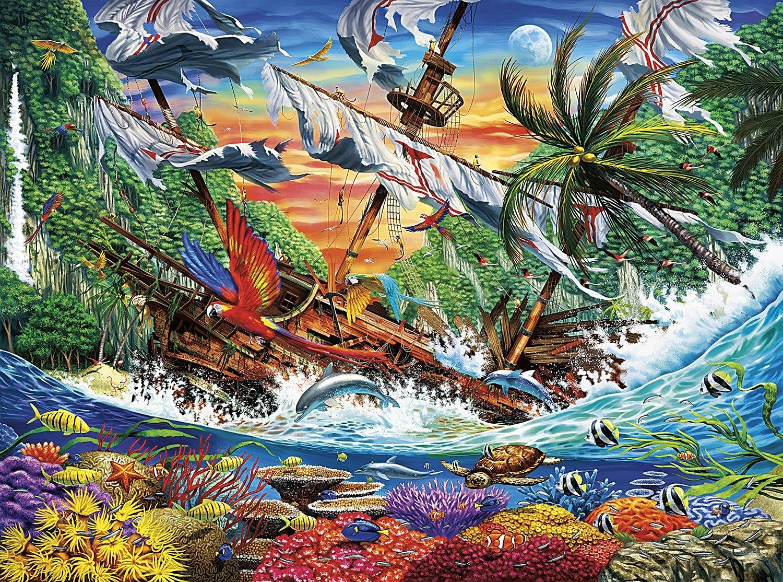 Buffalo Games - Marine Color - Shipwreck Reef - 1000 Piece Jigsaw Puzzle by Buffalo Games (Image #1)