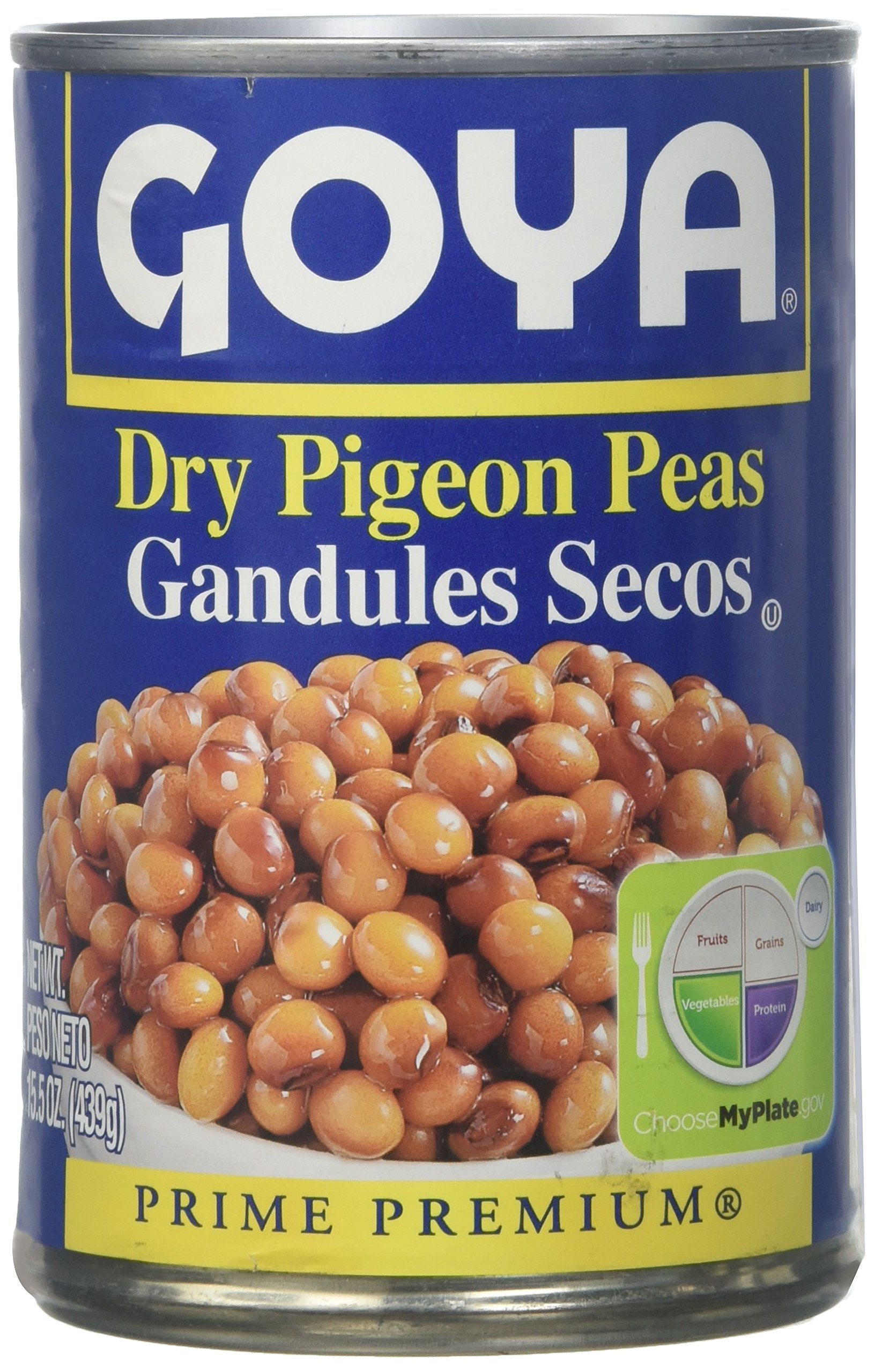 6 Cans of Goya Dry Pigeon Peas 15.5oz can (Gandules Secos en Lata 439gr.) (6 Latas)