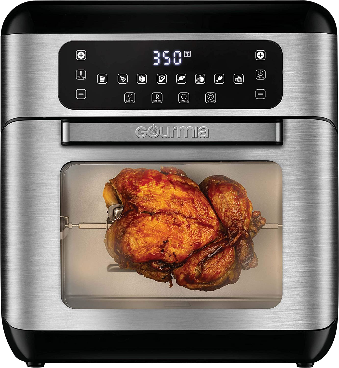 Gourmia GAF688 7-Qt All-in-One Digital Stainless Steel Air Fryer Oven with Dehydrator & Rotisserie