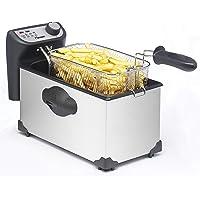 Bestron friteuse met koude zone, frituurpan met mand, 2200W, 3,5 L, rvs / zwart, Zilver