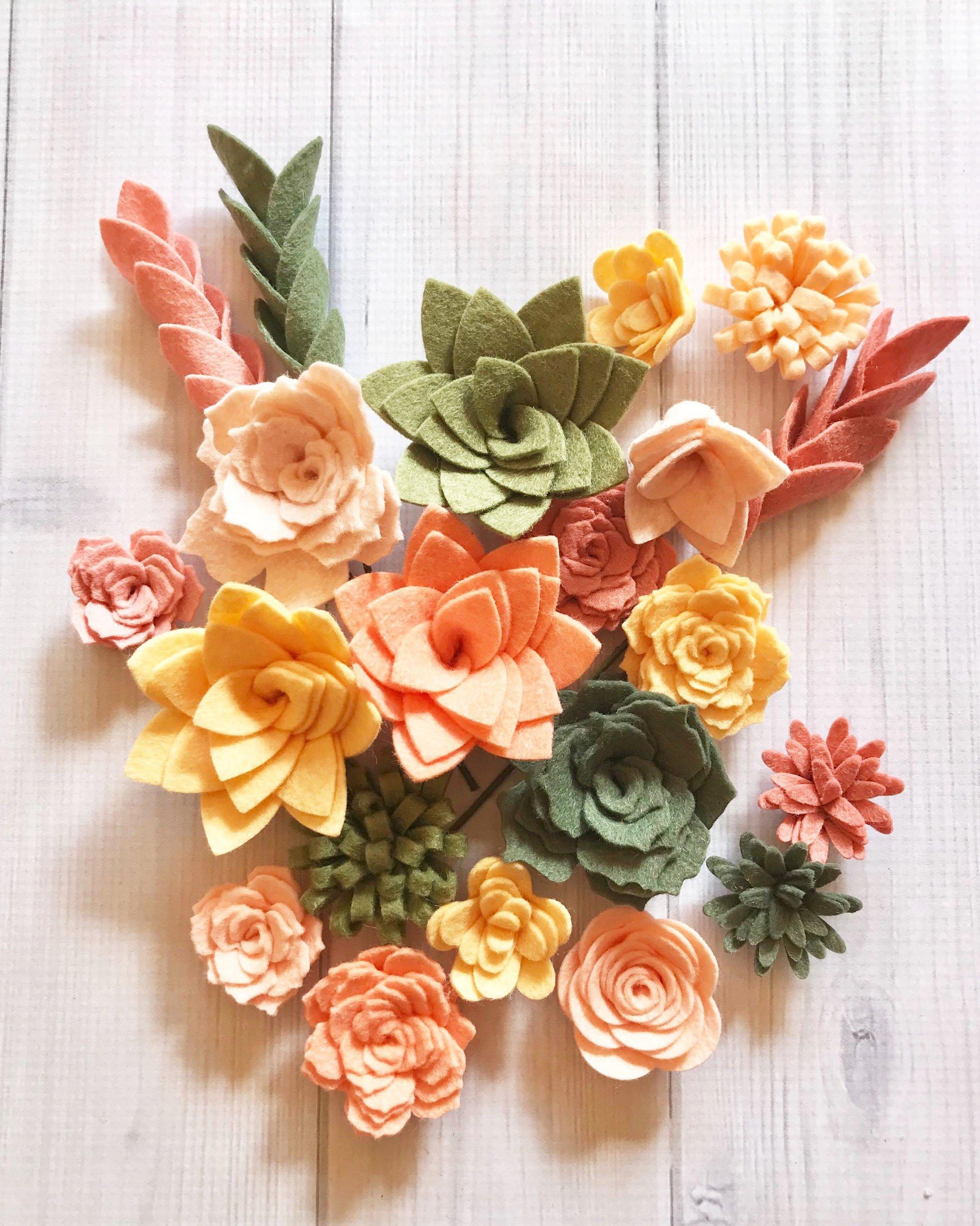 Wool-Felt-Succulents-and-Felt-Flowers-Spring-Blush-Pink-Coral-Create-Headbands-DIY-Wreaths-Garland-Vertical-Garden-Baby-Shower-Wedding