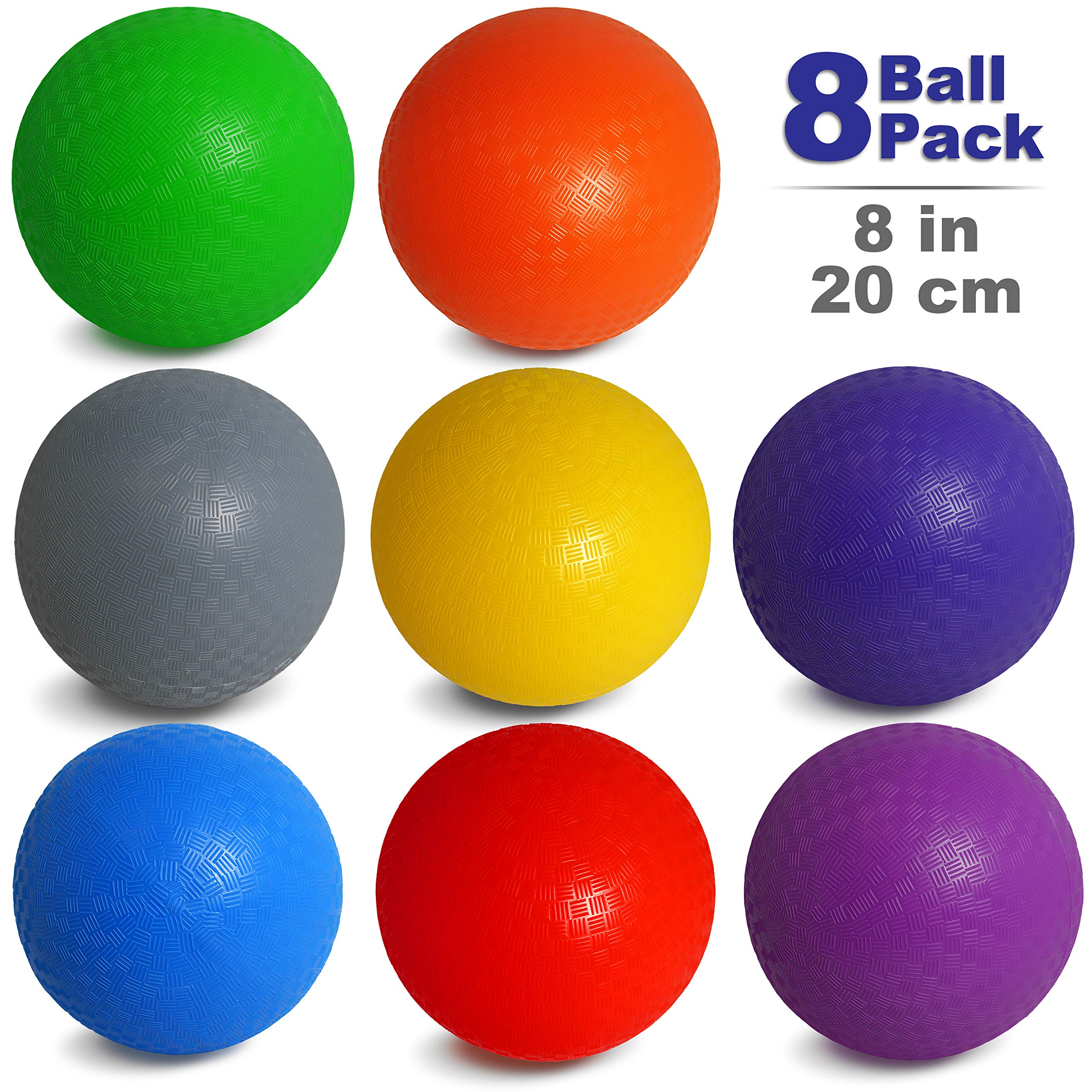 NDN LINE 8 Inch Playground Balls (Set of 8 deflated, for Schools and for Kids, Dodgeball, Kickball Pump Included) by NDN LINE