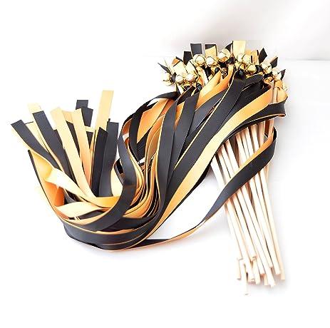 amazon com 25 black old gold ribbon wedding bell wands ribbon