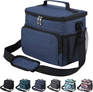 Insulated Lunch Bag for Men Women Adult Leakproof Lunch Box for Office Work School Cooler Tote Bag with Adjustable Shoulder Strap for Kids, Navy