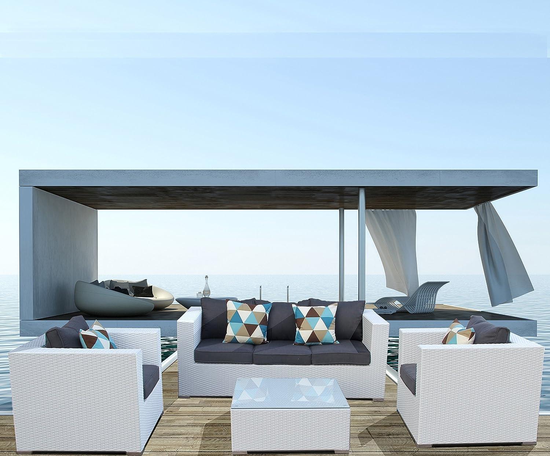Luxurygarden® Divano da giardino in rattan Bianco tre posti Salotto da esterno set di mobili da esterno Saturno