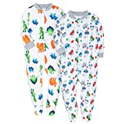 Baby 2-Pack & 2-Way Zip Front Long Sleeve Footed Sleeper Pajamas (2 Packed-Dinosaur & Toy Cars, 18-24M)