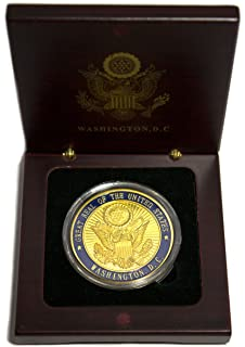 blue w gold us capitol presidential seal coin in wood box amazoncom white house oval office