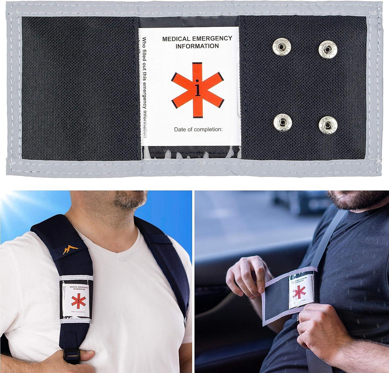 Erste Hilfe Ausweis f/ür Auto und Rucksack Gurt SOS Ausweis f/ür jeden Autogurt leuchtet im Dunkeln Unfall Rettung Medizinische Notfall Informationen am Sicherheitsgurt f/ür Ersthelfer und Notarzt