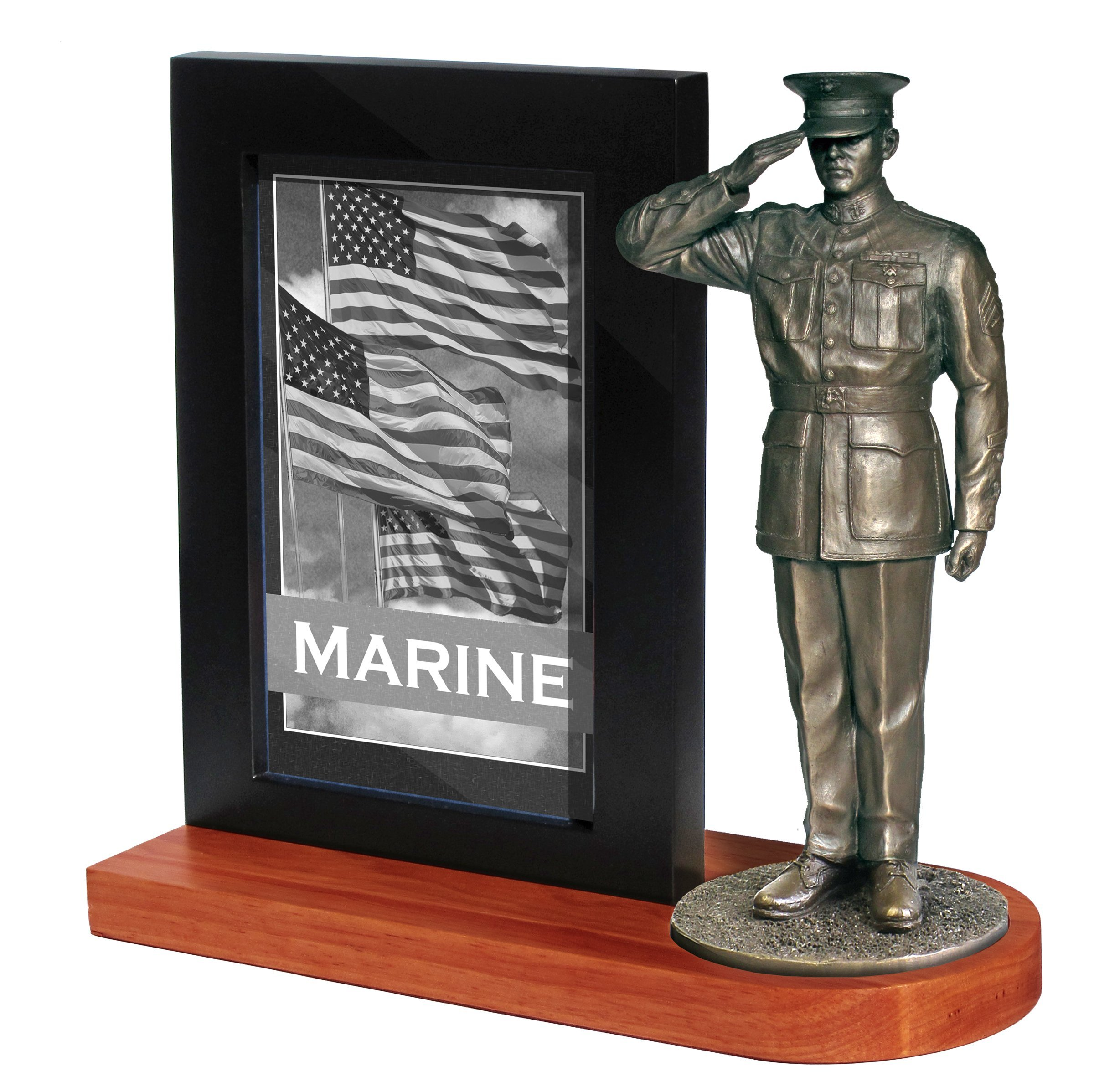 Khaki Army MD102W US Marine in Dress Blues Saluting on Wood Base with 4x6 Photo Frame