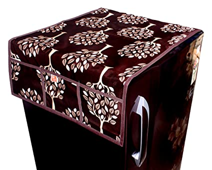 Kanushi Industries Floral (Tree) Design Fridge Top Cover with 6 Utility Pockets (Brown Color)