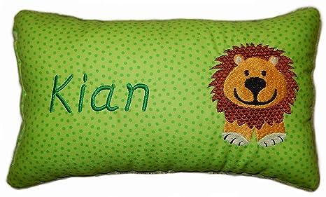 Verde Cojín * Manta Cojín * * León con nombre bordado * en ...