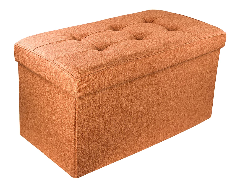 Rust Orange 30 x 16 x 16 Red Co Rust Orange POP14L Upholstered Folding Storage Ottoman with Padded Seat 30 x 16 x 16