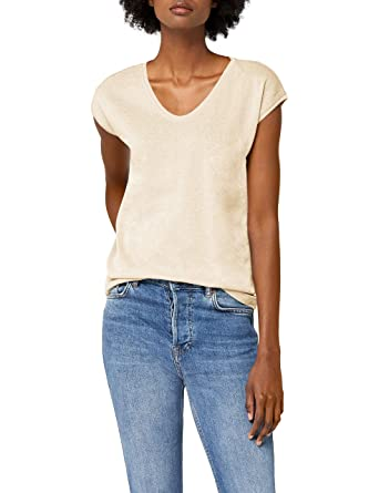 9b5fe879a74179 ONLY Damen T-Shirt Onlsilvery S S V Neck Lurex Top JRS Noos  Amazon ...
