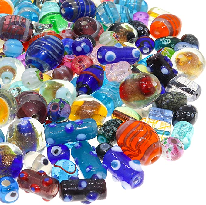 Green and Multi Color Glass Lampwork Tube Beads and Spacers Set for Making Jewelry