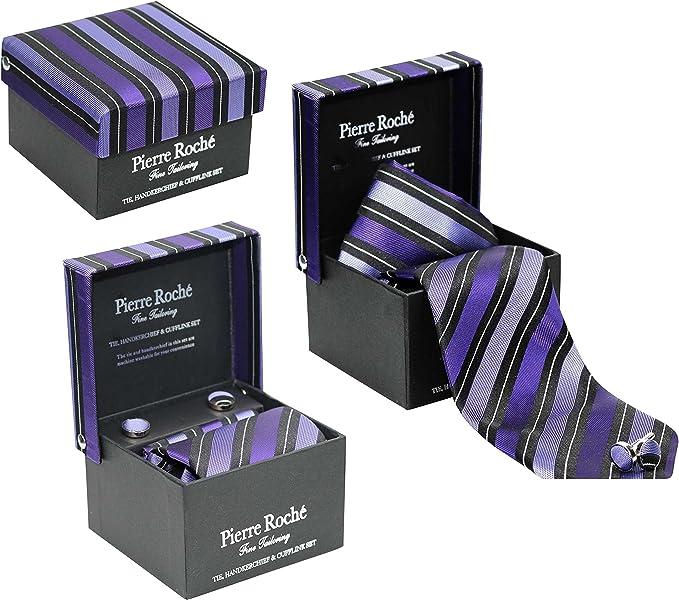 Pierre Roche Corbata incluye pañuelo para hombre juego de gemelos ...