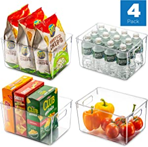 Set Of 4 Clear Pantry Organizer Bins Household Plastic Food Storage Basket with Cutout Handles for Kitchen, Countertops, Cabinets, Refrigerator, Freezer, Bedrooms, Bathrooms - 11