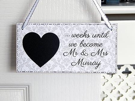 Boda cuenta atrás para Mr y Mrs placa compromiso regalo ...