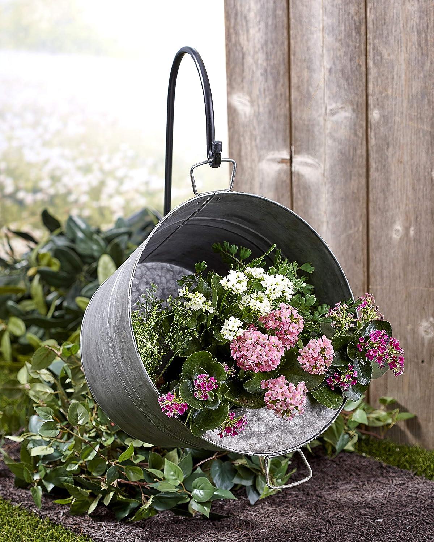 Macetas de metal ovaladas con gancho doble desmontable para pared balc/ón decoraci/ón del hogar hierro macetas macetas esta/ño para jard/ín cesta flores