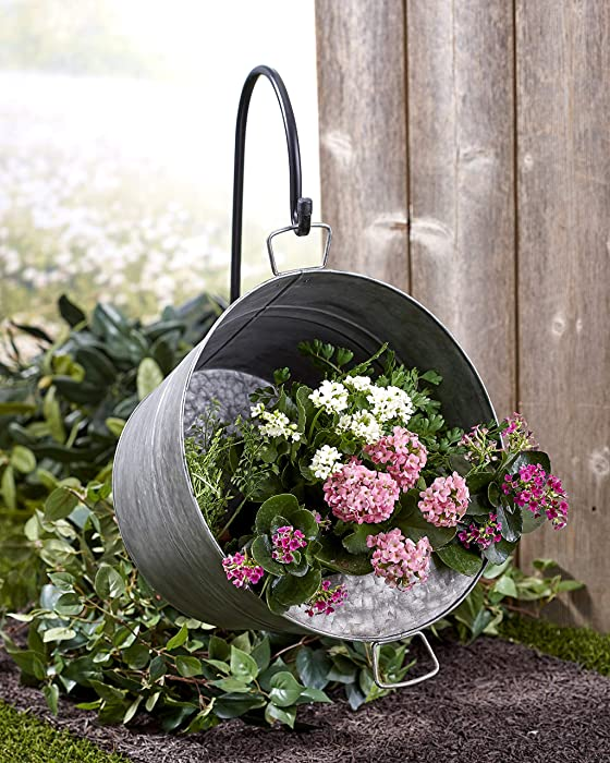 Pail Planter for Gardens - Galvanized Metal Flower Pot with Hook