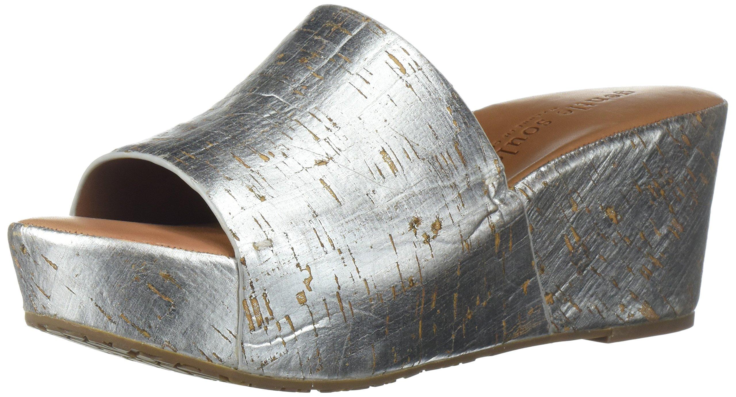 Gentle Souls Women's Forella Platform Slip Slide Sandal, Silver, 6.5 M US