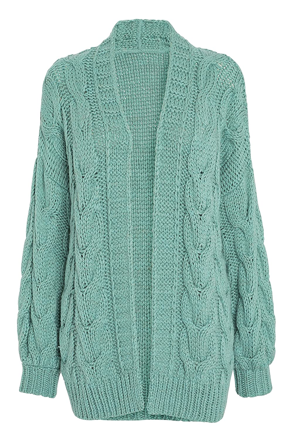 next Damen Grobstrick Cardigan Mit Zopfmuster Grün L: Amazon