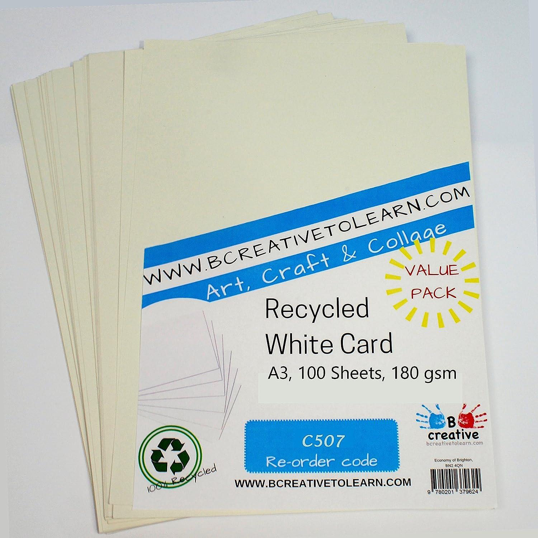 BCreativetolearn C507 Color Blanco Cartulina reciclada A3, 180 g//m/², 100 Hojas