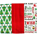 Festive Christmas Kitchen Cotton Tea Towels Set of 3 (Red Christmas Trees)
