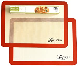 Baking Sheet Liners, 2-Pc Set by Ludy's Kitchen - Replaces Baking Papers - Commercial Grade Silicone Baking Mats - Non Stick, Durable, & Reusable Oven Pan Liners - Great Gift Ideas