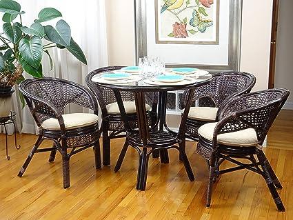 Amazon 5 Pc Pelangi Rattan Wicker Dining Set Round Table Glass