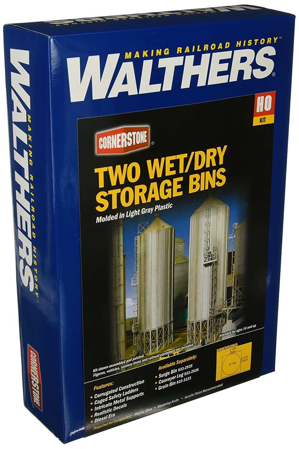 Walthers HO Scale Cornerstone Series174 Modern Grain Series Kits Wet/Dry Storage Bins (Parts for Complete Bins) 3-5/8 3-5/8 12 inches 933-2937