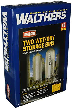 Walthers HO Scale Cornerstone Series174 Modern Grain Series Kits Wet/Dry  Storage Bins (Parts for Complete Bins) 3-5/8 3-5/8 12 inches