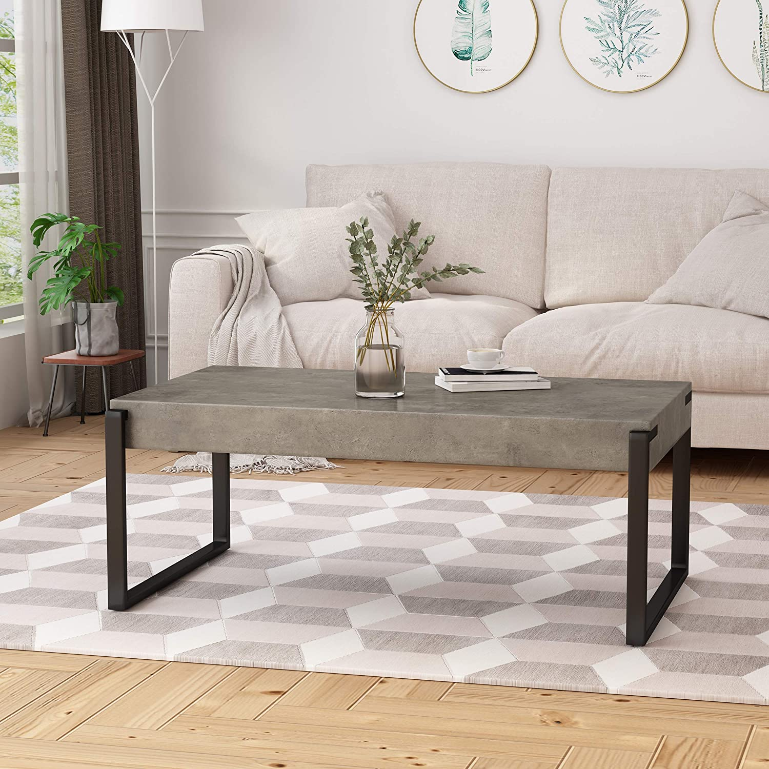 Amazon com shaw coffee table modern contemporary industrial faux wood with iron legs light concrete and matte black kitchen dining