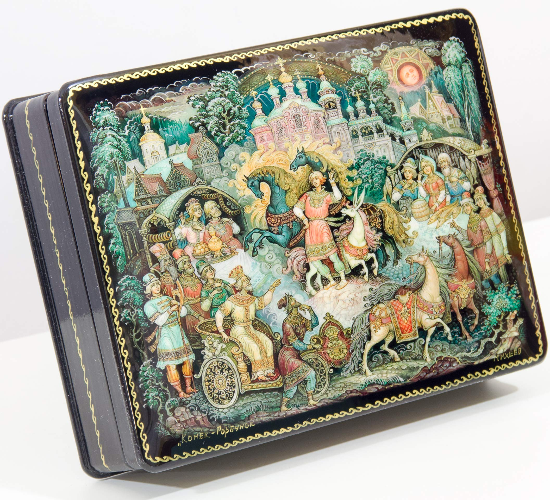 craftsfromrussia Russian Lacquer Miniature - Jewelry Trinket Box - Series #2''_''(Fairy Tale) - Big Size - Hand Painted in Russia (Series B - 19)