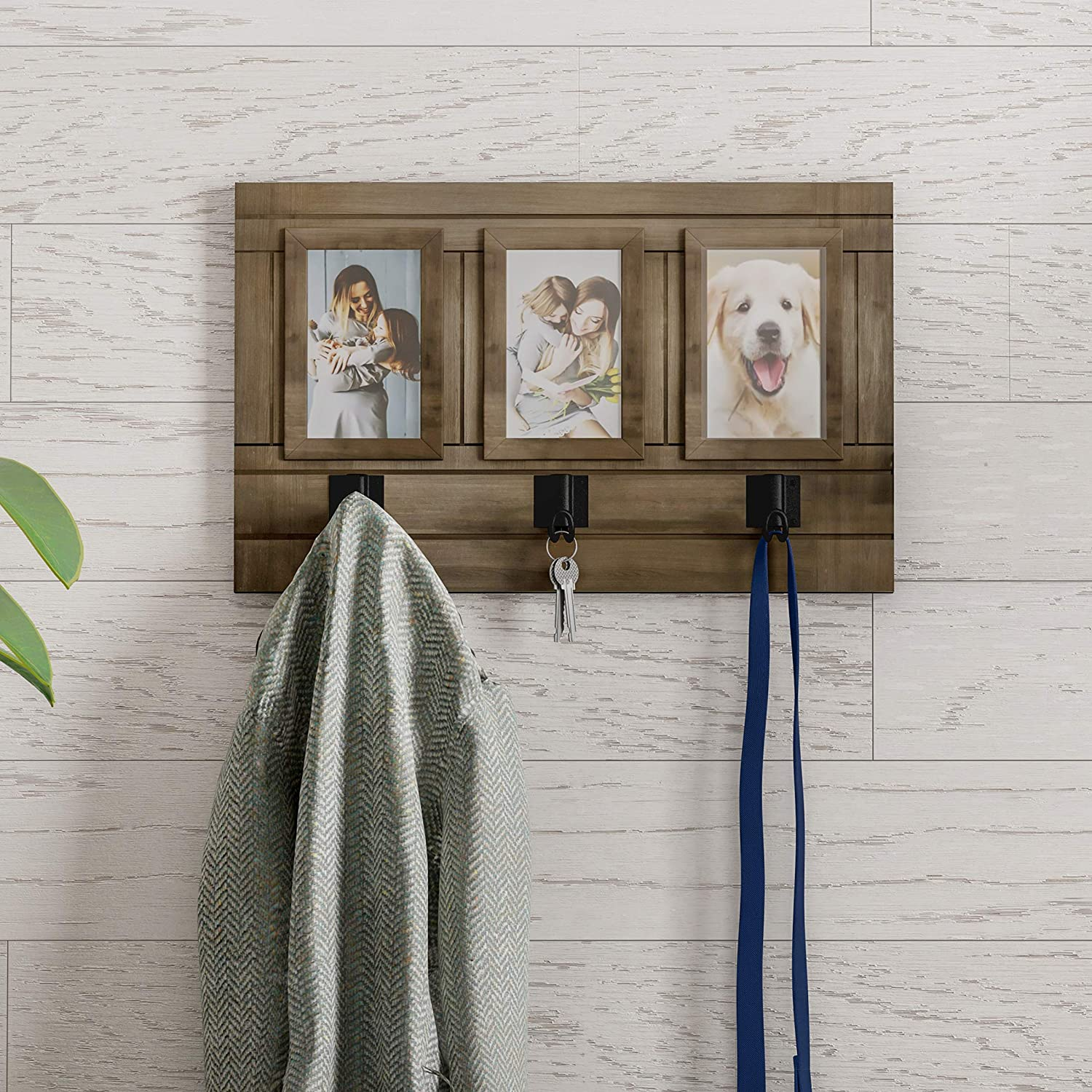Home Collage with 3 Hanging Hooks-Wall Mounted Photo Frame Decor with Rustic Wood Look, Holds 4x6 Pictures by Lavish