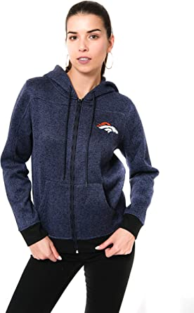 A-Team Apparel NFL Womens Full Zip Fleece Hoodie with Pouch Pocket