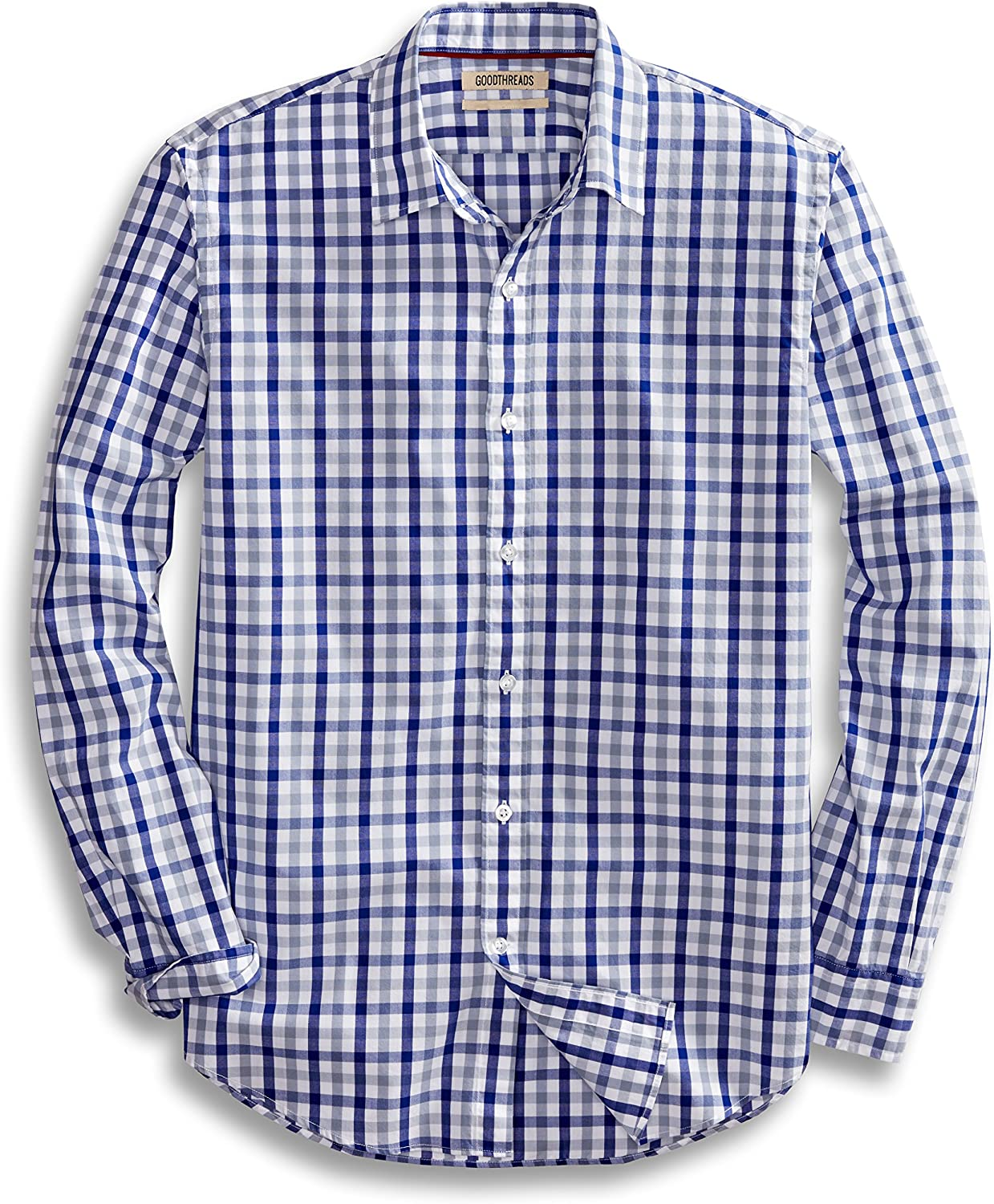 Amazon Brand - Goodthreads Mens Standard-Fit Long-Sleeve Gingham Plaid Poplin Shirt