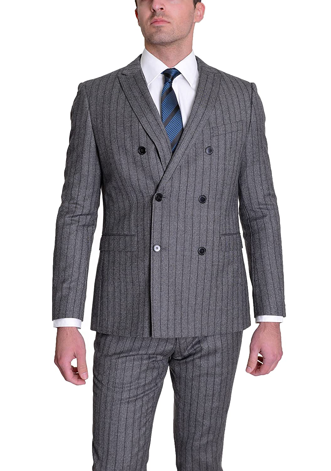 Hugo Boss Rusty/Win Slim Fit Gray Striped Double Breasted Flannel Wool Suit