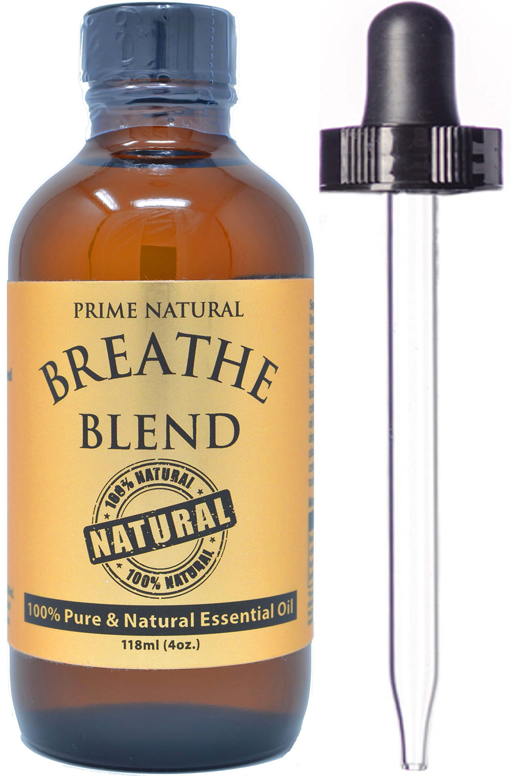 Breathe Essential Oil Blend 4oz / 118ml - Pure Undiluted Therapeutic Grade for Aromatherapy, Scents & Diffuser - Sinus Relief, Allergy, Congestion, Cold, Cough, Headache, Respiratory Problems by Prime Natural