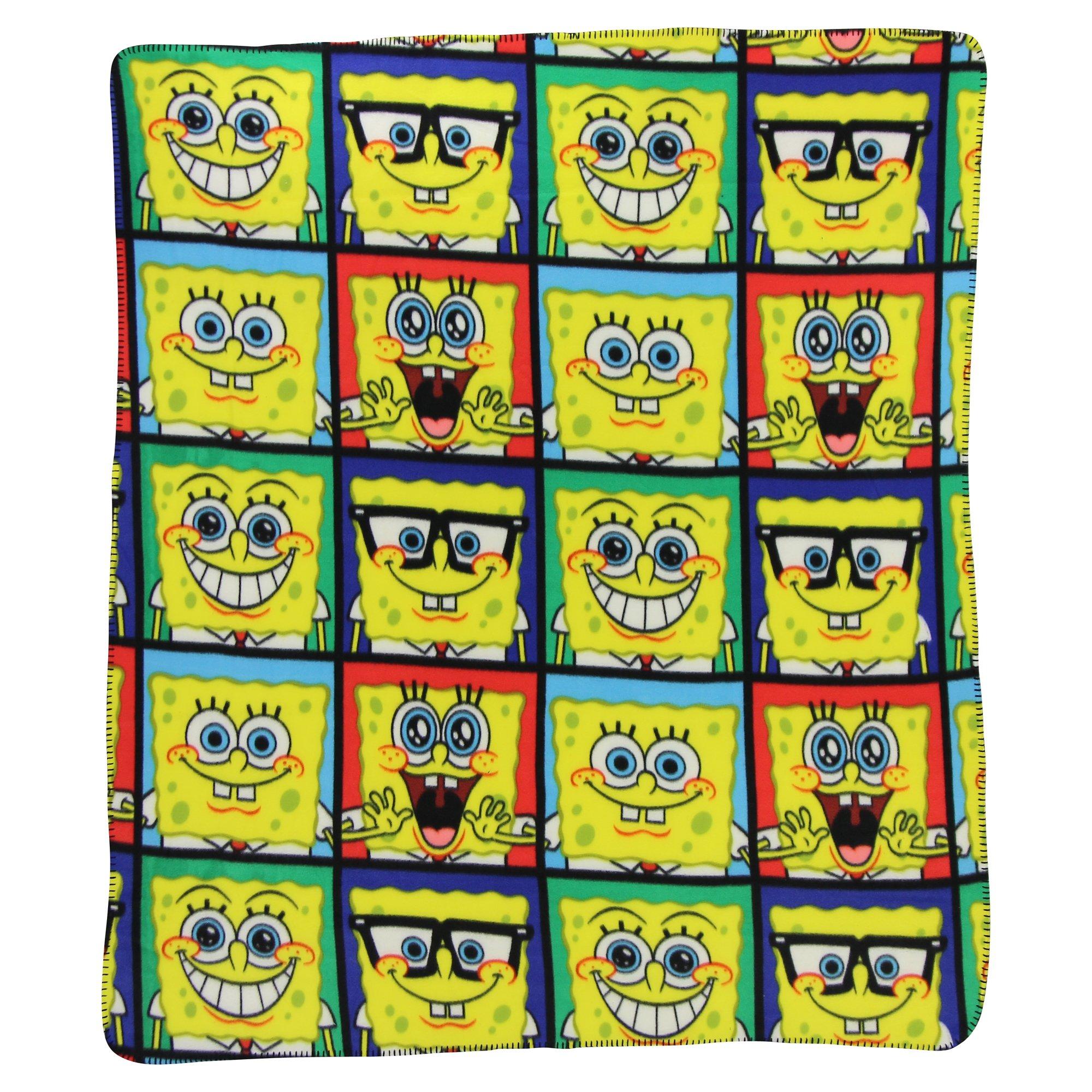 Northwest Kids Fleece Throw Blankets 50'' x 60''(Spongebob Squarepants Faces) by Northwest