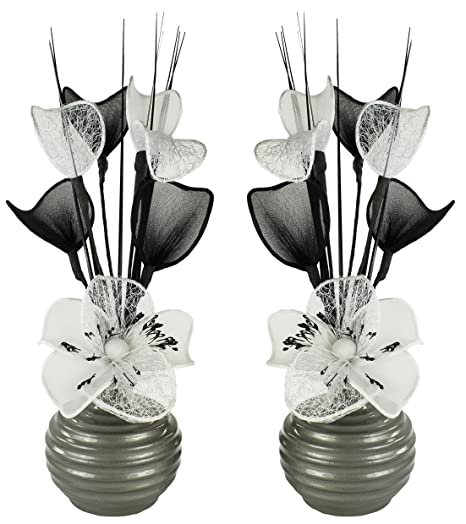 Matching Pair Of Dark Grey Vases With White Artificial Flowers