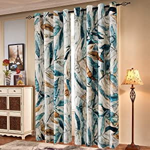 subrtex Printed Curtains Blackout for Bedroom Living Room Kids Room Dining Room Valance Colorful Window Drapes 2 Panel Set (52'' x 84'', Blue)