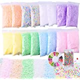 Slime Foam Beads Floam Balls – 18 Pack Pastel Microfoam Beads Kit 0.1-0.14 inch (90,000 Pcs) Micro Colors Rainbow Fruit…