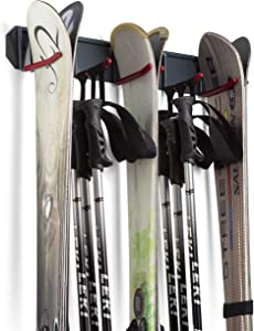 Wall Mounted Rack Organizer for Skis and Poles Heavy Duty Horizontal Wall Ski Rack Garage Storage with Metal Frame and Padded Hooks Indoors Outdoors Premium Wall Hooks (Large Holds 3 Set of Ski's)