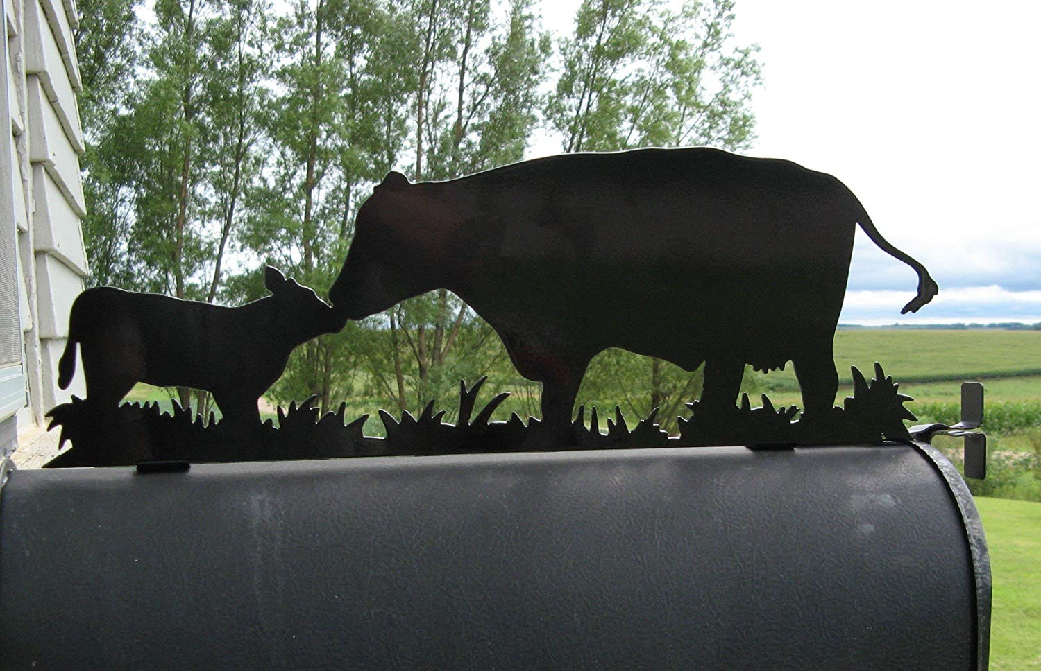 Cow and Calf Pair Metal Mailbox Topper
