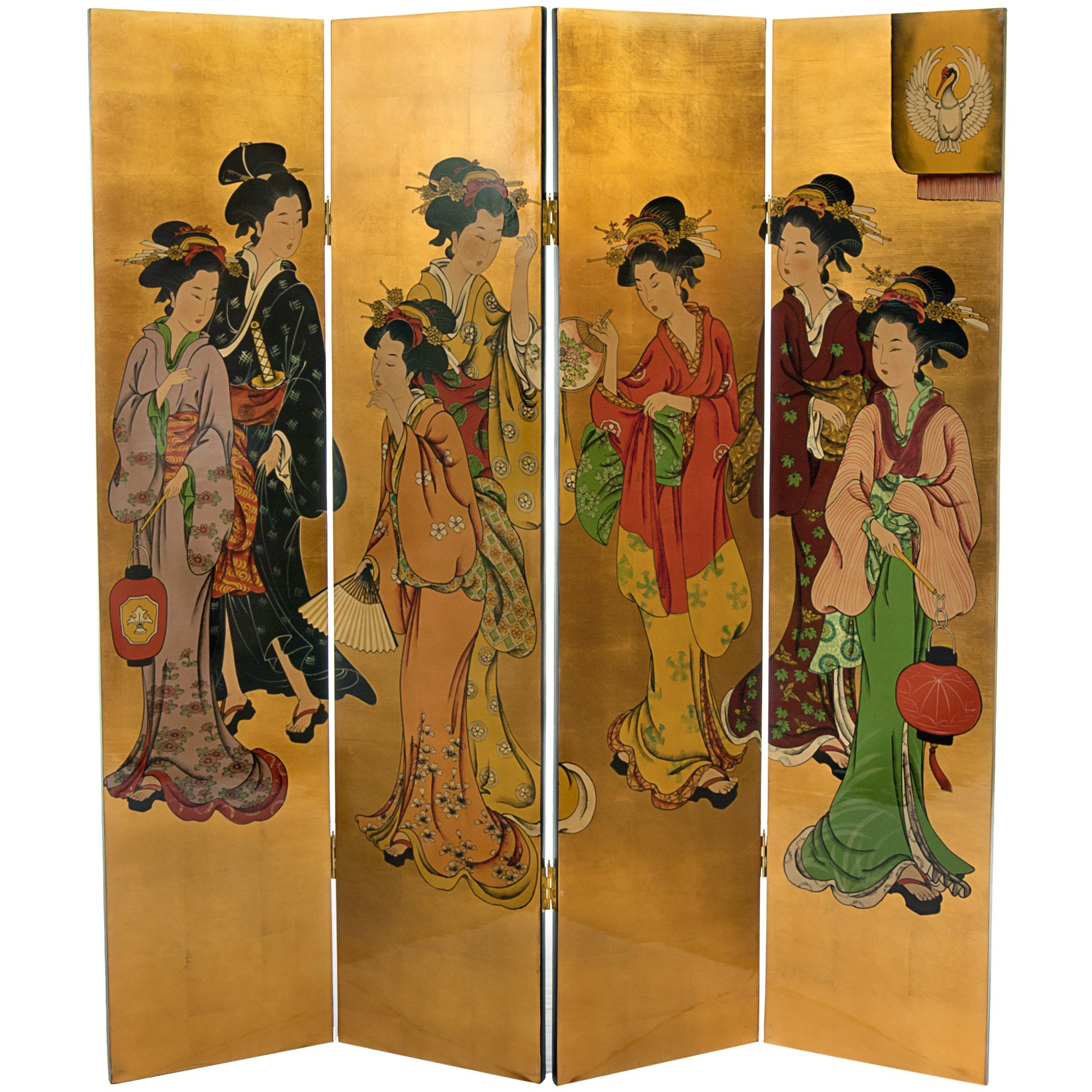 Oriental Furniture 6 ft. Tall Golden Geisha Screen