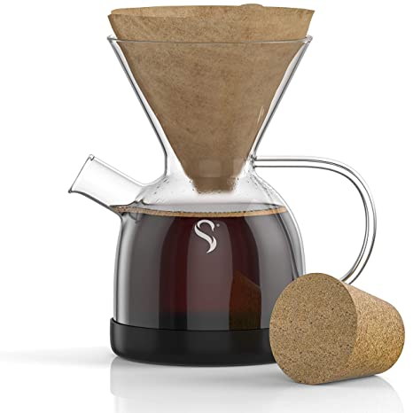Shanik Pour Over Coffee Maker with Handle - Borosilicate Glass Coffee Maker - Drop Resistant Silicone Base - V02 Filter Required - 0.5L / 17oz