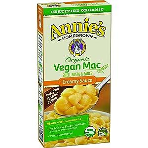 Annie's Organic Vegan Shells & Creamy Sauce Macaroni & Cheese, Non- Dairy, 12 Boxes, 6oz (Pack of 12)