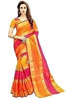 Glory Sarees Women's Cotton Silk Saree(jari125_prin_orange)