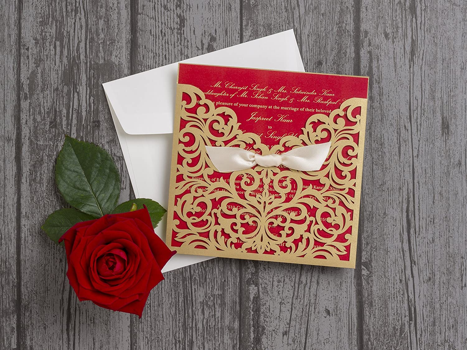 20 x Luxury Personalised Red & Gold Bow Printed Wedding Invitations ...